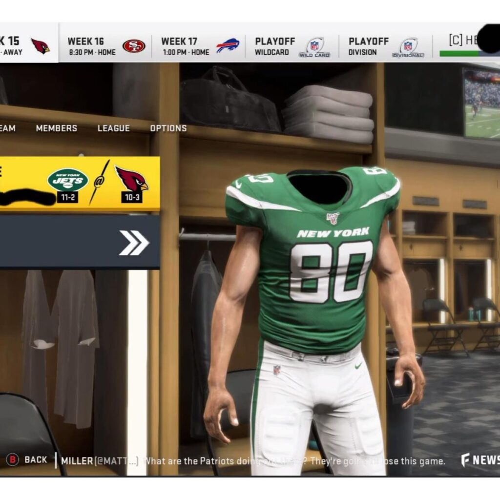 Madden 21 Player poses without a head.